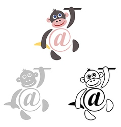 international sign email animals monkey vector image