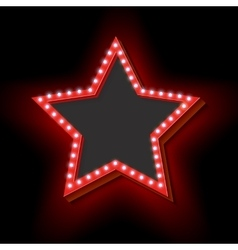Retro frame with lights in the shape of a star vector image
