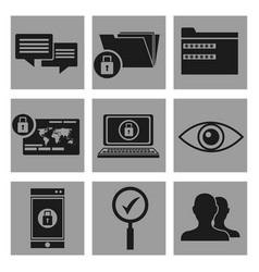set security system data icons vector image