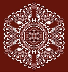 White floral round ornament on red background vector