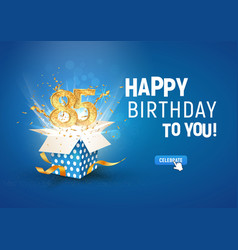 85 th years anniversary banner with open burst vector