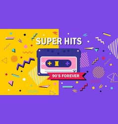 90s forever super hits music poster design vector