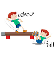A boy comparison of balance and fall vector