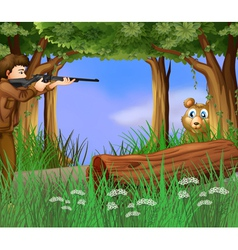 A hunter and a scared bear vector image