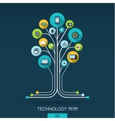 Abstract technology background Growth tree vector