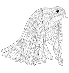 adult coloring bookpage a cute flying dove image vector image