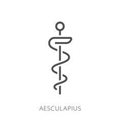 aesculapius line icon element medicine icon vector image