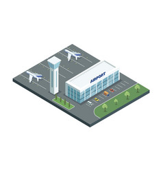 Airport with planes and parking vector