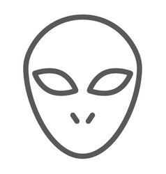 alien line icon space and character humanoid vector image