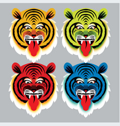 angry tiger face isolated on white background vector image