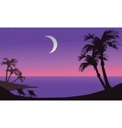At night beach scenery silhouette vector