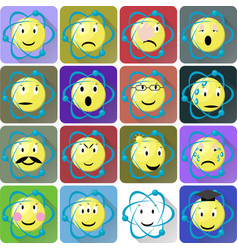 Atom emoticons icons set vector