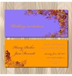 Autumn wild grape wedding invitation card vector image