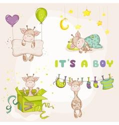 Baby boy giraffe set - shower or arrival card vector