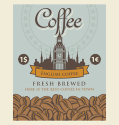 Banner with coffee beans and big ben in london vector