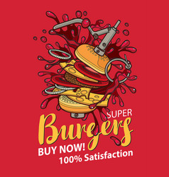 banner with super burger in retro style vector image