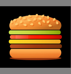 big tasty burger isolated on vector image