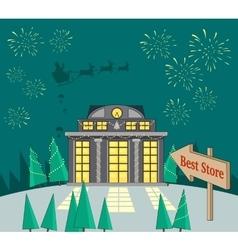 Big Xmas Sale Glowing Shop Fireworks and Santa vector image