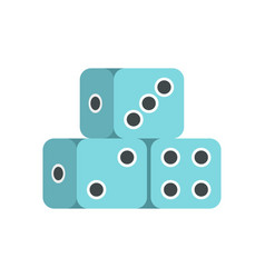 Blue dice cubes icon flat style vector