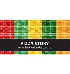 Brick pattern set pizza story seamless brick vector