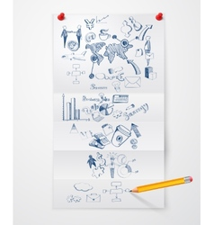 Business doodle paper sheet vector image