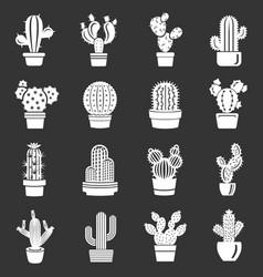 Cactus icons set grey vector