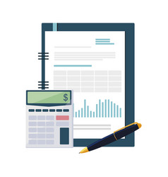 Calculator math with documents vector