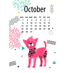 Calendar for october 2018 with chinese crested dog vector