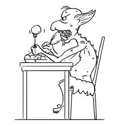 cartoon internet troll virtual hater eating vector image