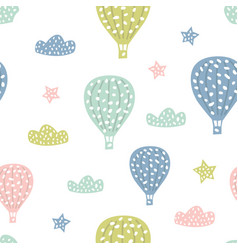 Childish seamless pattern with cute hot air vector