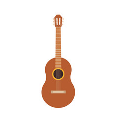 classic wooden acoustic guitar spanish icon vector image