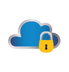 cloud padlock security vector image