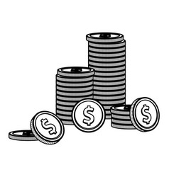 coins stacked isolated black and white vector image