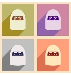 Concept flat icons with long shadow Arab woman vector image