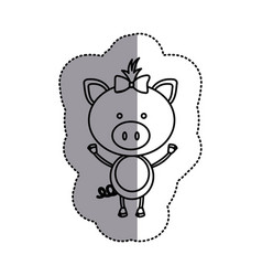Contour teddy pig bow head vector