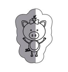 Contour teddy pig bow head vector