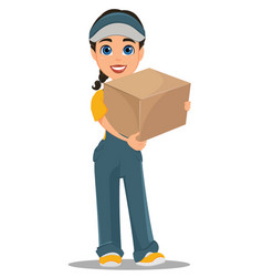 Courier woman standing with parcel professional vector