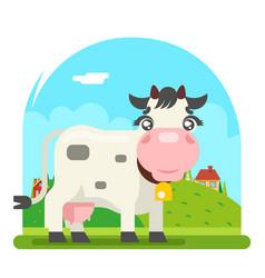 cow milk farm animal flat design flat design vector image
