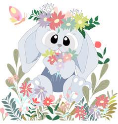 cute big eyes rabbit bunny in the flower bush vector image