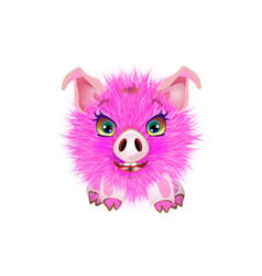 cute pig lying cheerful funny pig vector image