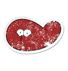 Distressed sticker of a cartoon gall bladder vector