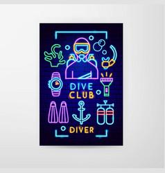 dive club neon flyer vector image