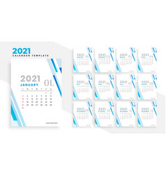 Elegant 2021 modern business calendar design vector