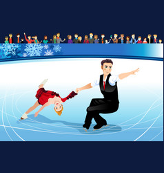 Figure skating athletes competing vector