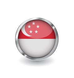 flag of singapore button with metal frame and vector image
