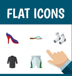 Flat icon clothes set of foot textile heeled shoe vector