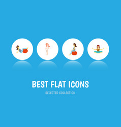 Flat icon pregnancy set of meditation sport vector