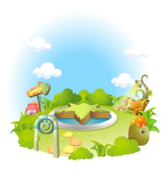 Formal garden on green landscape and blue sky vector image vector image