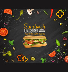 Fresh sandwich chalkboard background vector