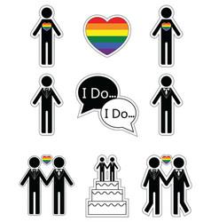 Gay man wedding with rainbow element vector image
